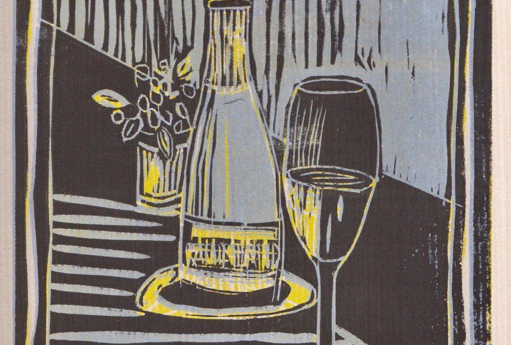 Stilleben mit Champagnerflasche